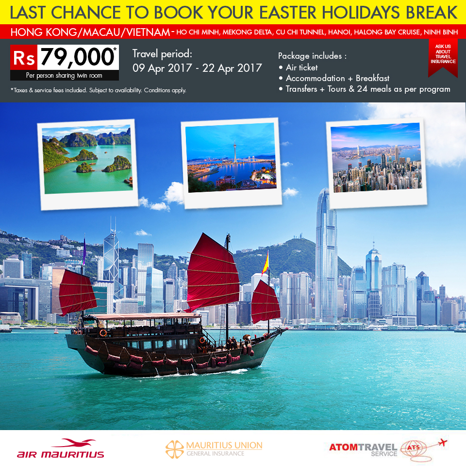 Hong Kong / Macau / Vietnam Package (April 2017) - Atom Travel