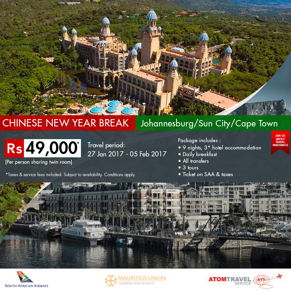 Johannesburg Sun City Cape Town Package Chinese New