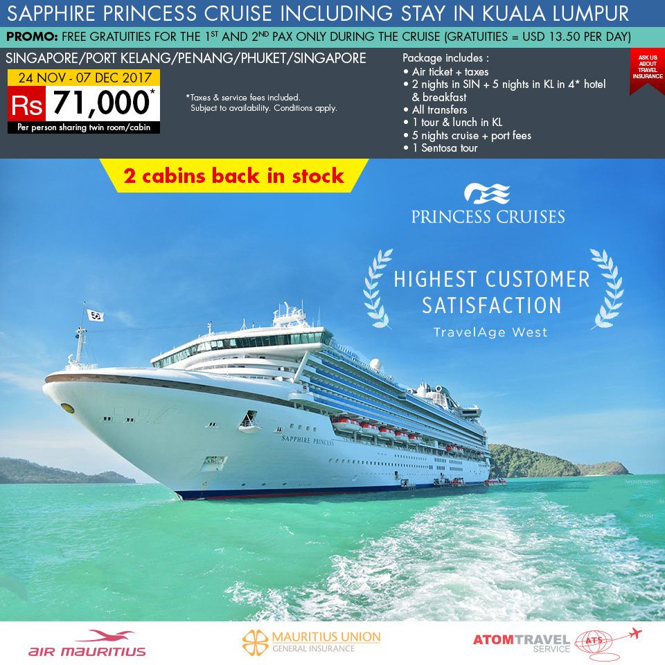 Sapphire Princess Cruise With Kuala Lumpur Nov Atom Travel - Cruise packages