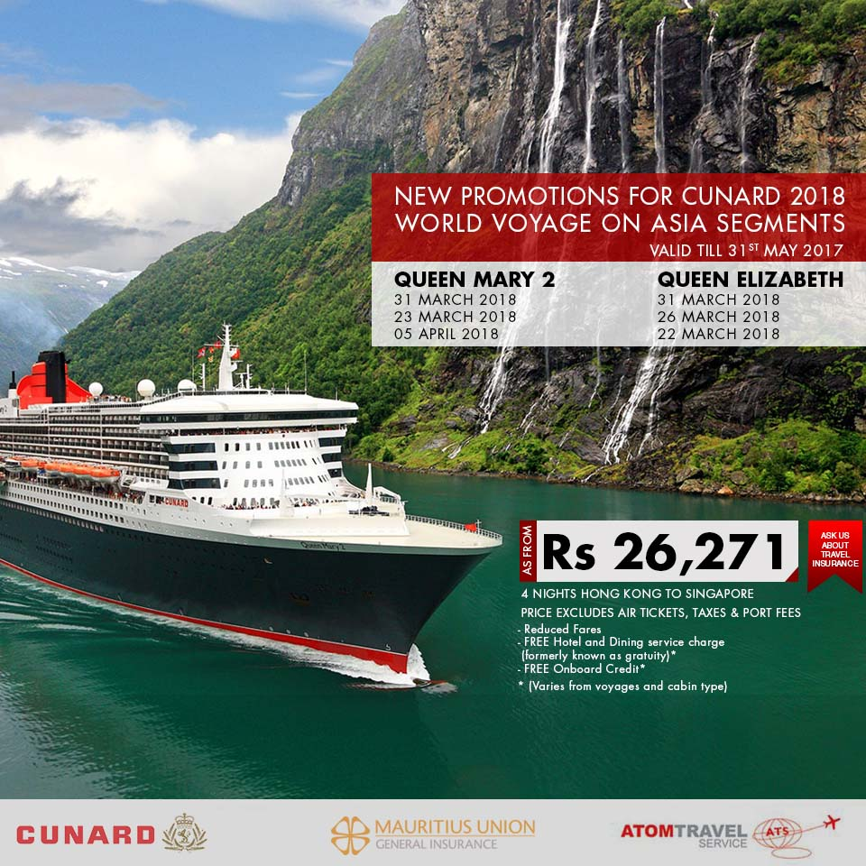 Promotions For Cunard 2018 World Voyage