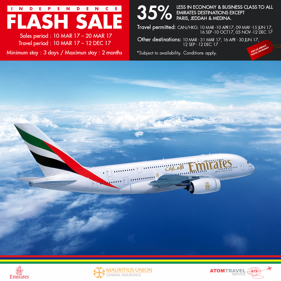 Emirates airline has launched one of its biggest sales yet, with reduced fares to over 70 destinations worldwide.. The Dubai carrier said the sale, which lasts until August 20, applies to bookings for travel between September 1 and March 31