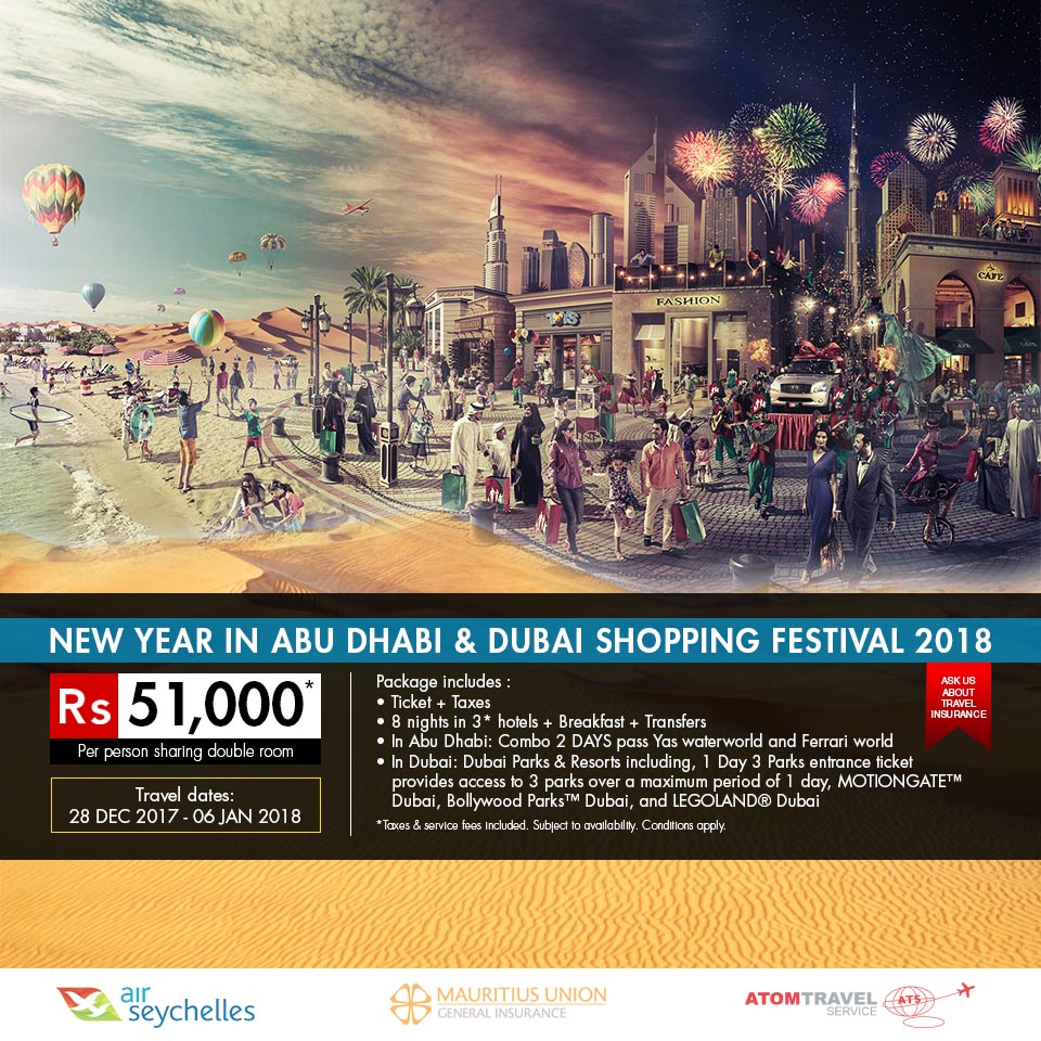 New Year In Abu Dhabi & Dubai Shopping Festival (28 Dec 17