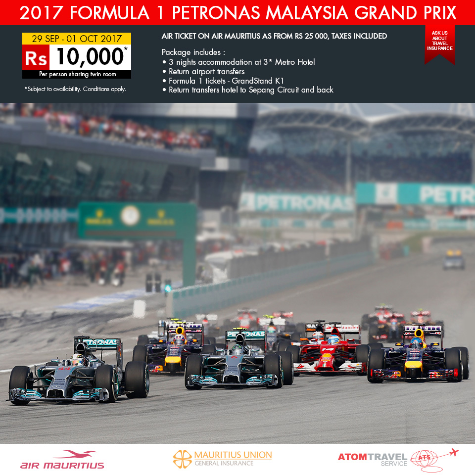 formula 1 petronas malaysia grand prix 2017 atom travel. Black Bedroom Furniture Sets. Home Design Ideas