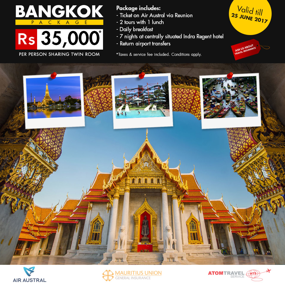 Bangkok Package Via Air Austral Atom Travel