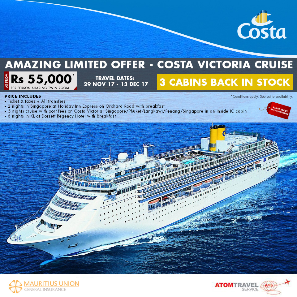 Costa Victoria Package Incl. Singapore & Kuala Lumpur Stay