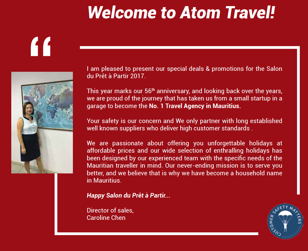 Atom travel 39 s brochure for the salon pr t partir 2017 for 212 salon st louis