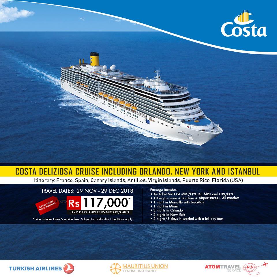 Costa Deliziosa Incl Orlando Nyc And Istanbul Dec 2018