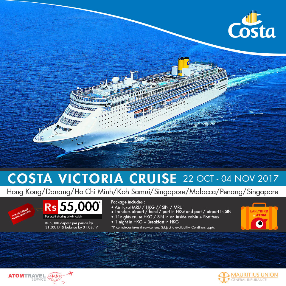 Costa Victoria Cruise Hong Kong Singapore October 2017