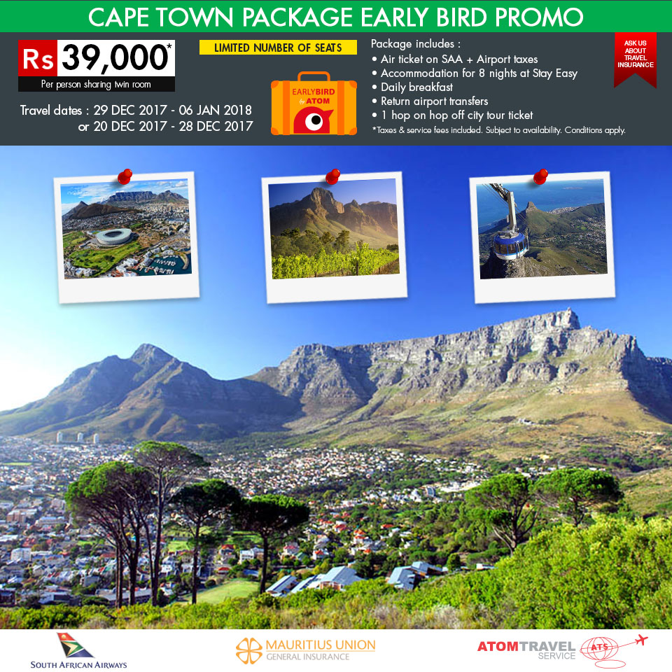 Cape Town Package - Early Bird Promo - Atom Travel