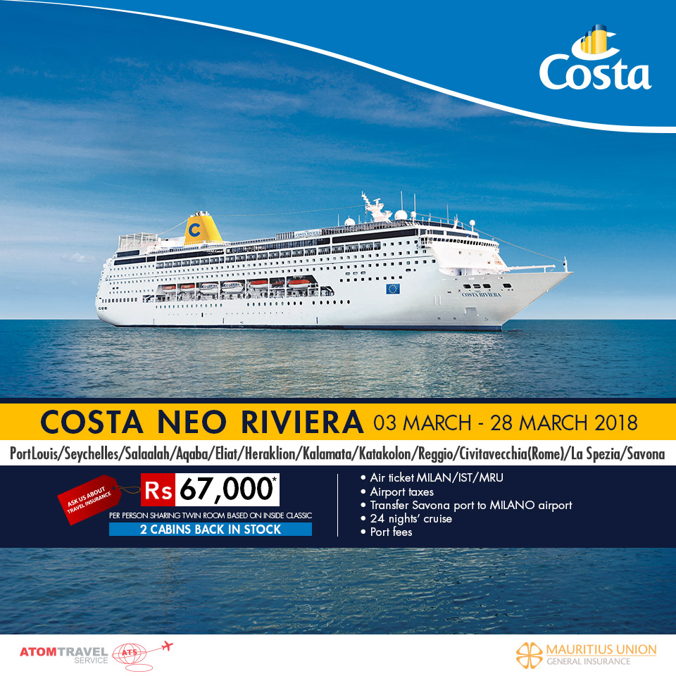 Costa Neoriviera March 2018 Atom Travel