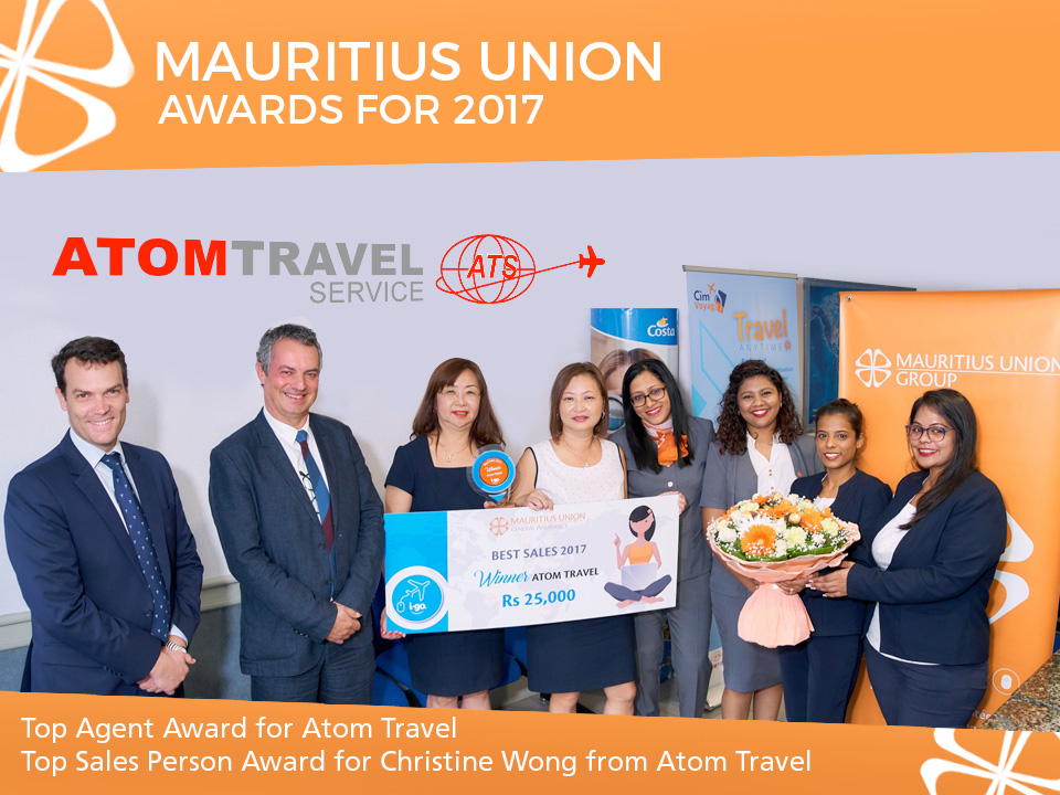 Mauritius Union: Top Agent Award & Top Sales Person Award - Atom Travel