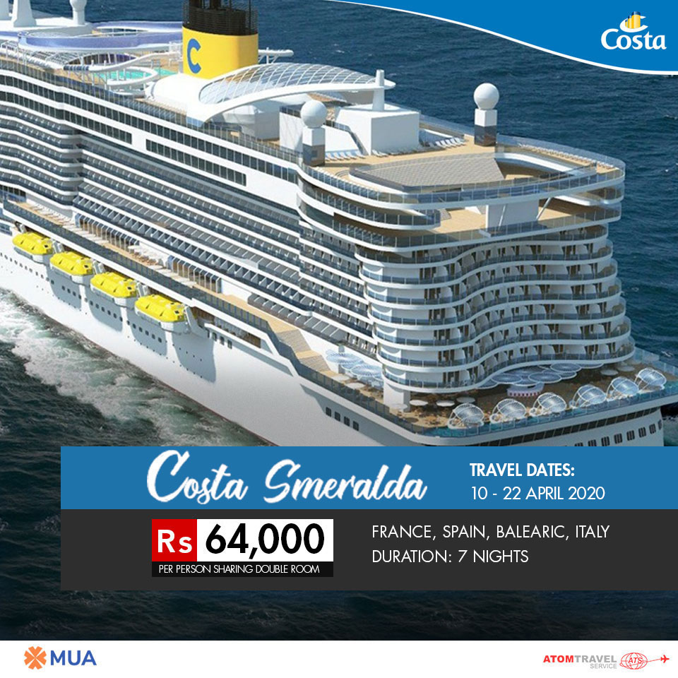 Cruise April 2020.Costa Smeralda 12 April 2020 Atom Travel